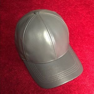 Winner Caps Accessories - GENUINE COWHIDE LEATHER FITTED HAT GREY